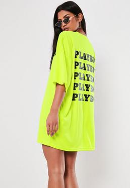 7adf3f91c Playboy X Missguided Lime Repeat Back Slogan T Shirt Dress