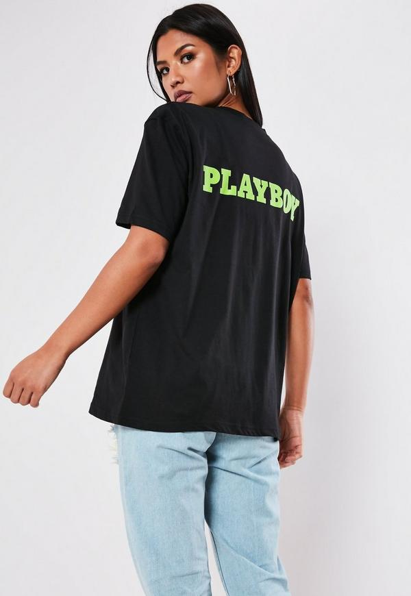 Playboy X Missguided Black Slogan Back T Shirt by Missguided