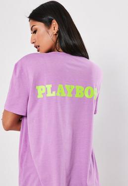 451a6cab7a1a3 Playboy X Missguided White Magazine T Shirt Dress  Playboy X Missguided  Lilac Slogan Back T Shirt