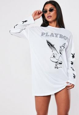 7be5bb6726c5 ... Playboy X Missguided White Bunny Sleeve T Shirt Dress