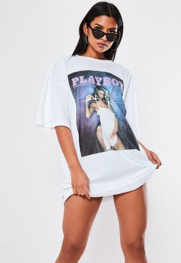 Playboy X Missguided White Magazine T Shirt Dress by Missguided