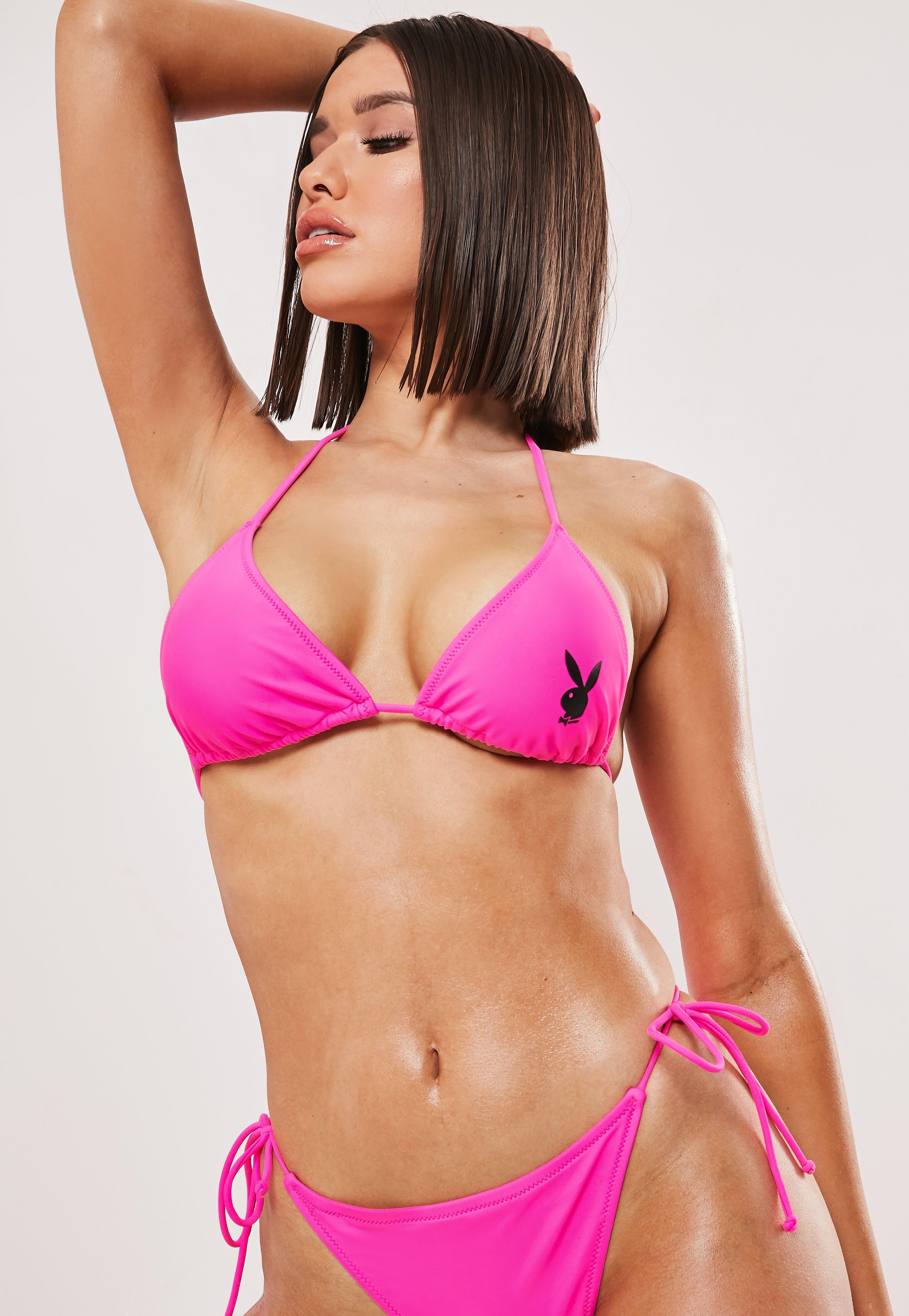 free shipping 65f84 dc023 Playboy x Missguided Pink Bunny Logo Triangle Bikini Top