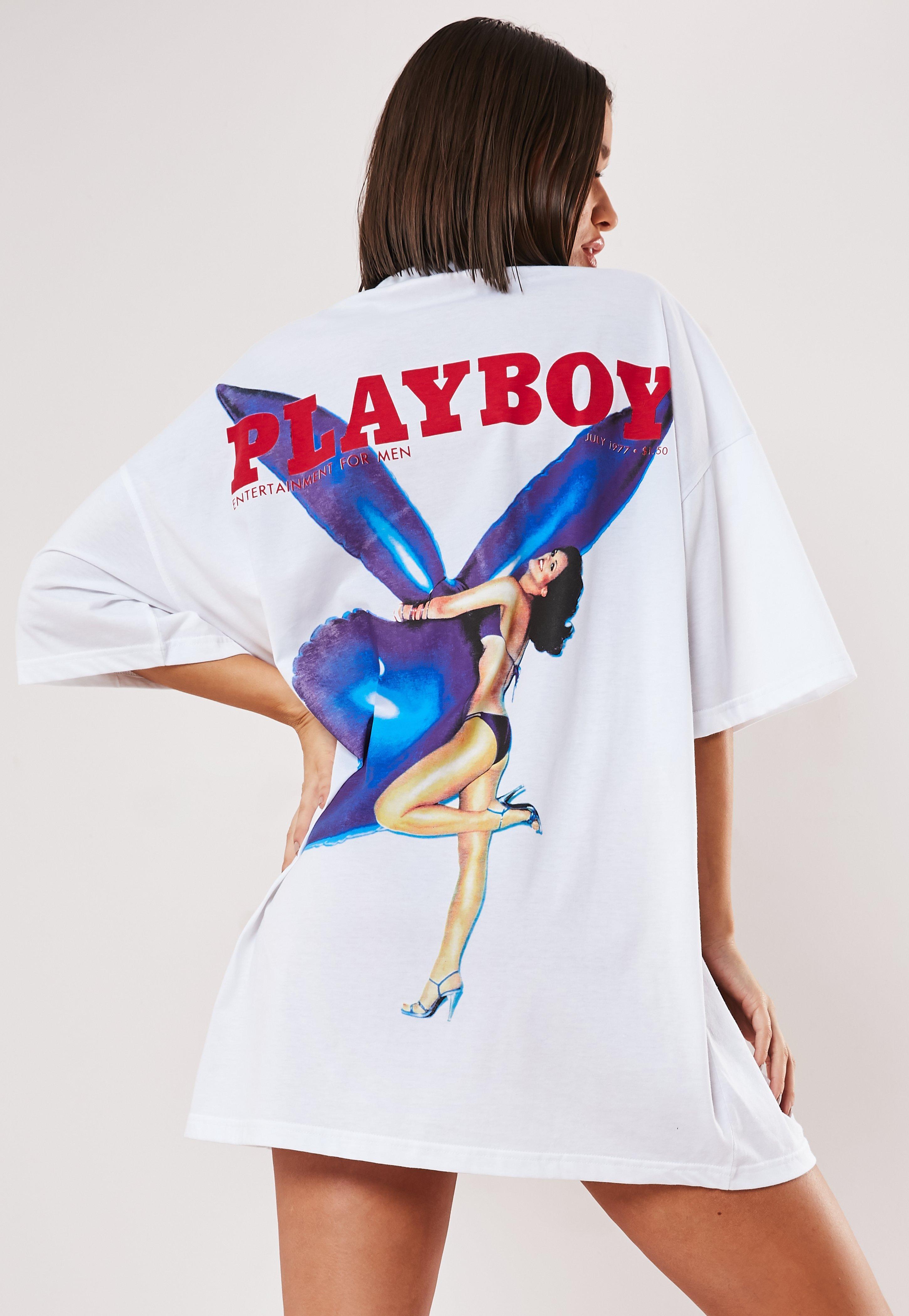 cd66505d1f Playboy X Missguided White Magazine Back Print T Shirt Dress