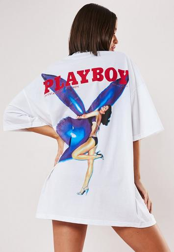 Playboy X Missguided White Magazine Back Print T Shirt Dress by Missguided