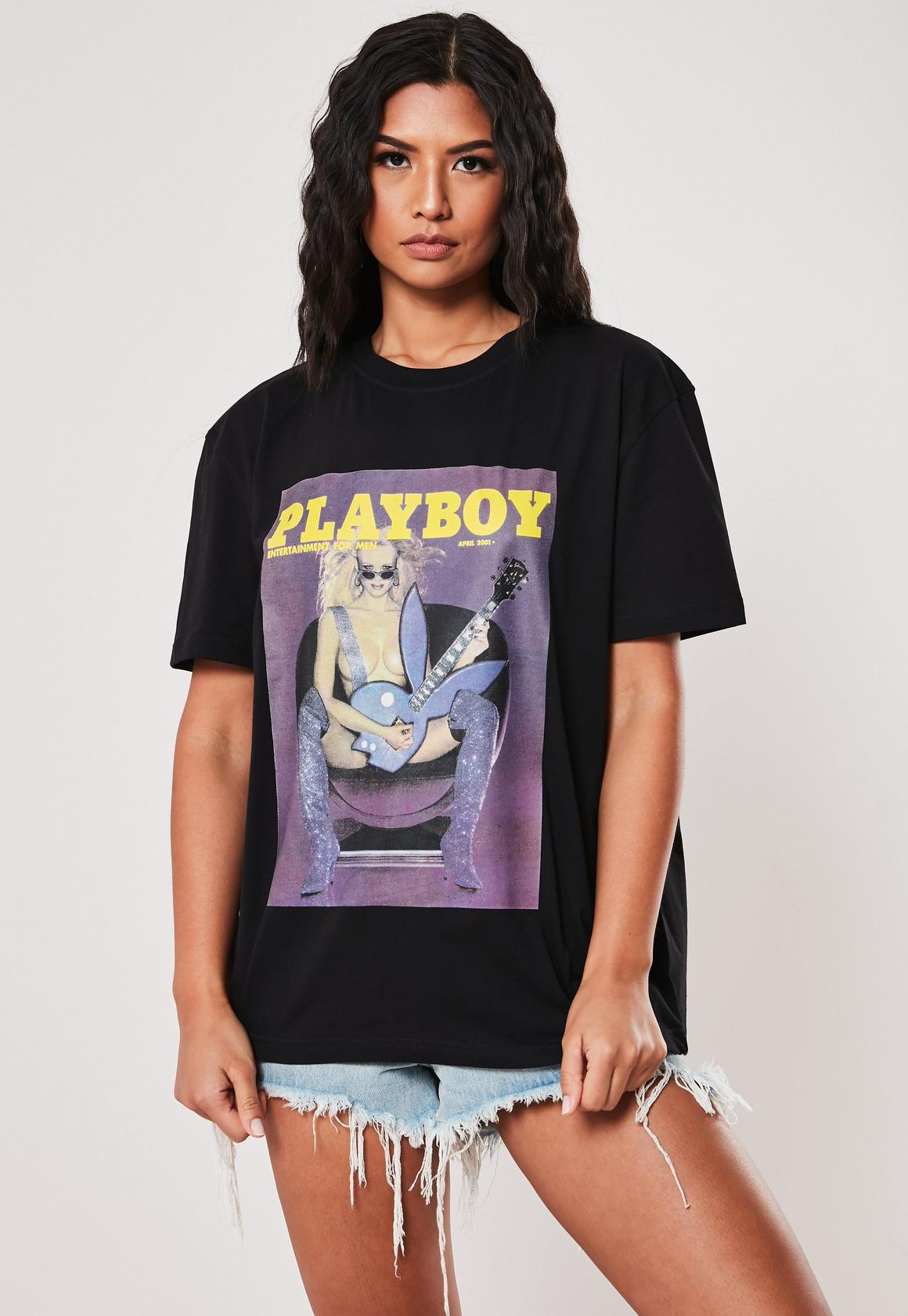 codice promozionale 2abbe 2fd5f Playboy X Missguided Black Rock Magazine Graphic Front Oversized T Shirt