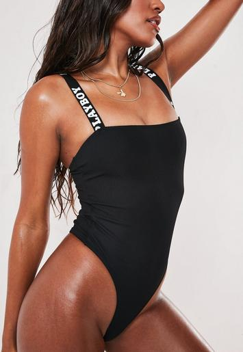 Playboy X Missguided Black Rib Square Neck High Leg Thong Swimsuit by Missguided