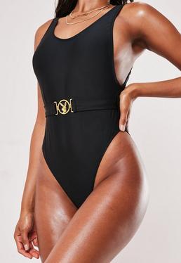 fac8ddcbd2cc8 Playboy x Missguided Black Logo Buckle Scoop High Leg Swimsuit