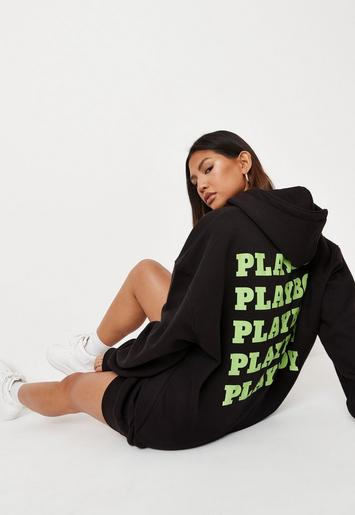 Playboy X Missguided Black Oversized Slogan Hoodie Dress