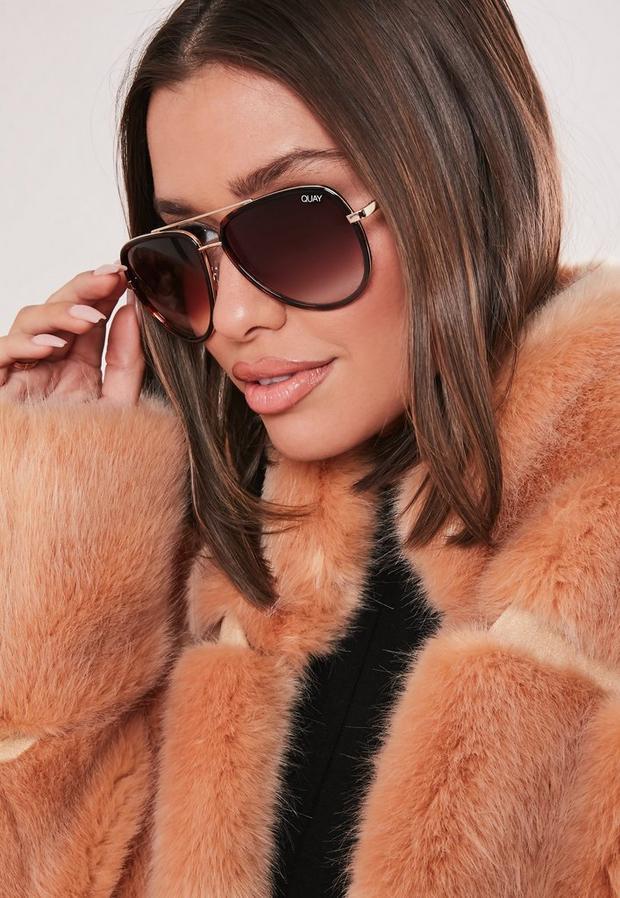 quay australia x jlo all in brown sunglasses