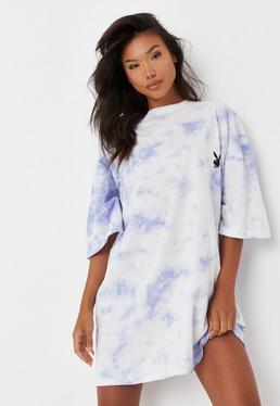 Playboy x Missguided Vestido camiseta oversize tie dye en lila