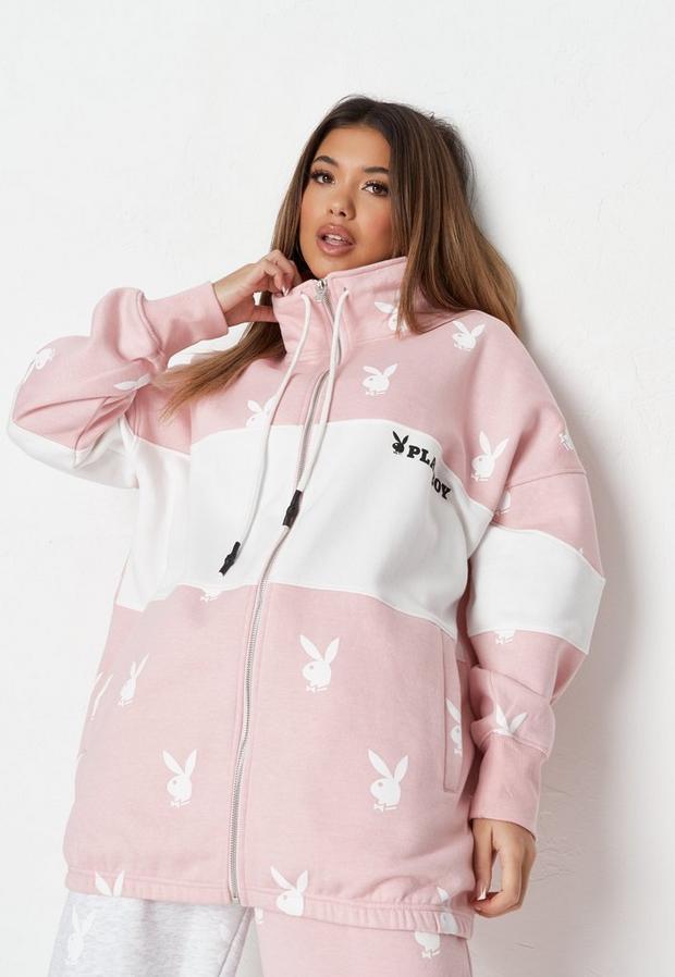 playboy x missguided pink colorblock zip oversized sweatshirt
