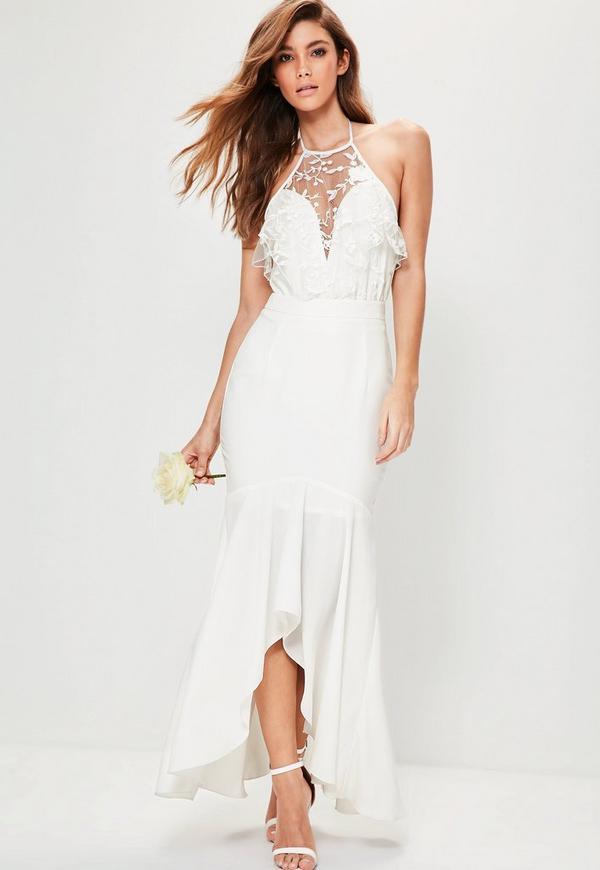 Bridal White Hem Frill Maxi Skirt