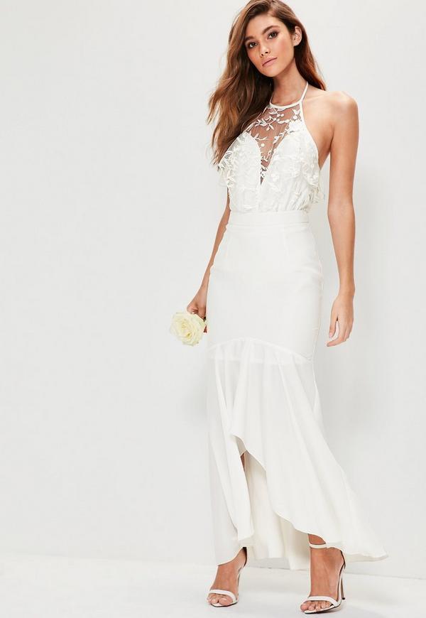 bridal white hem frill maxi skirt missguided