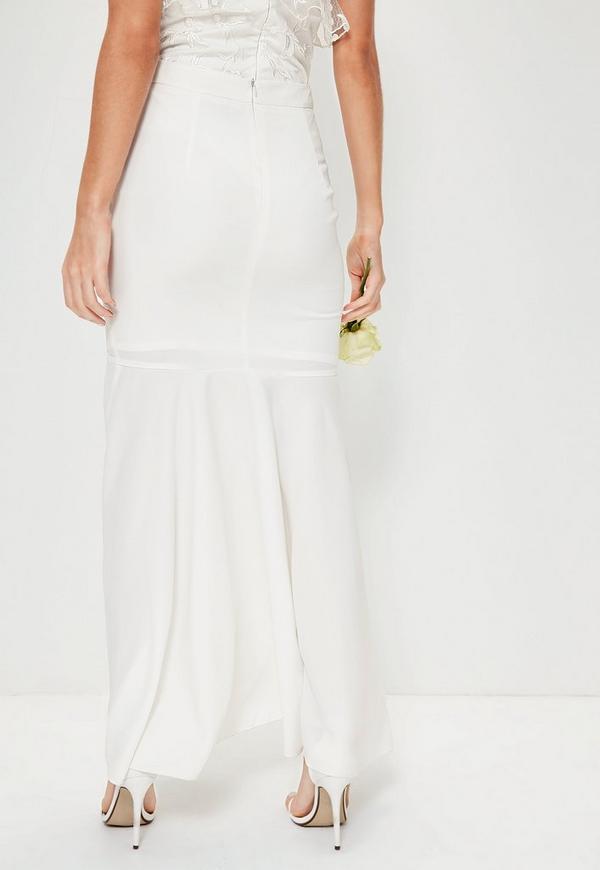 bridal white hem frill maxi skirt missguided australia