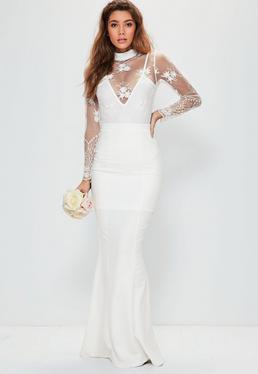 Biała ślubna spódnica maxi