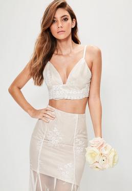Mesh-Spitzen Träger Braut-Bralette aus Satin in Weiß