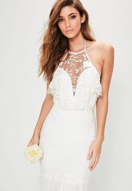 Bridal White Halterneck Lace Bodysuit
