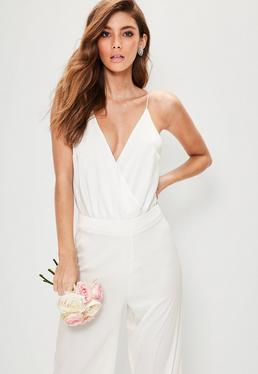 Bridal White Strappy Wrap Front Bodysuit