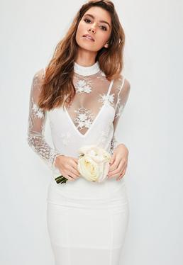 Bridal White High Neck Embellished Long Sleeve Bodysuit