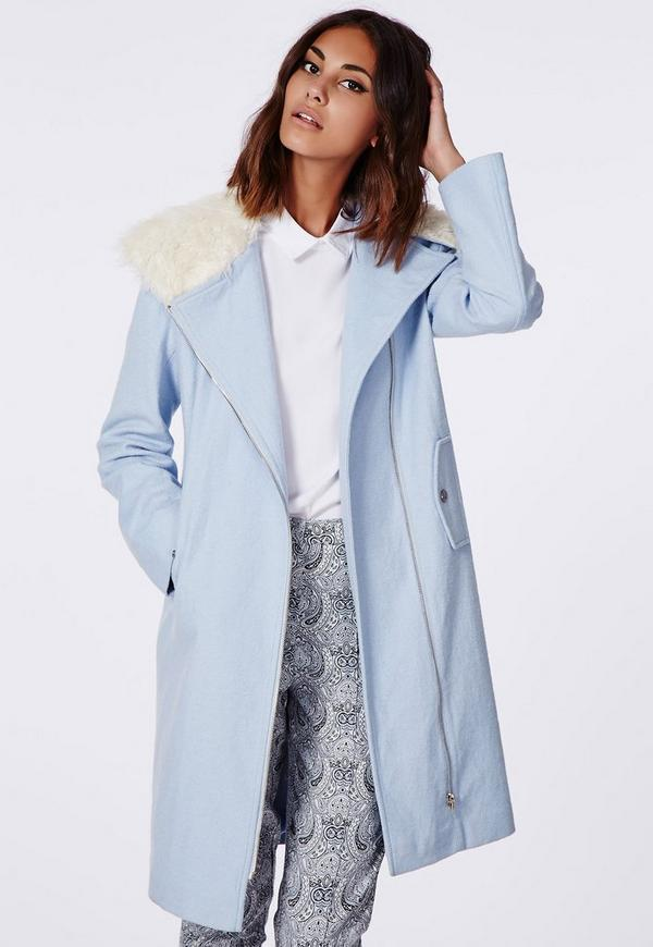 Kayla Shearling Collar Biker Coat Blue