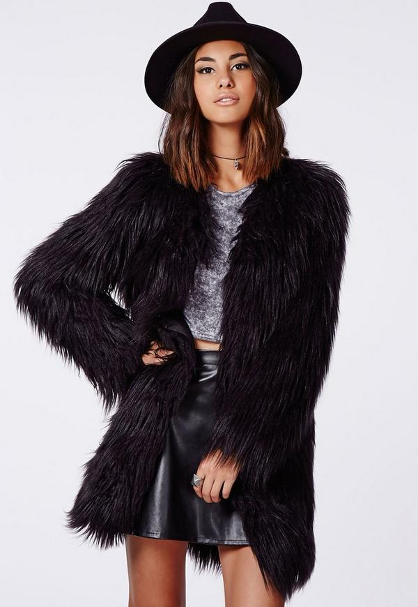 Cloe Shaggy Faux Fur Coat Black | Missguided