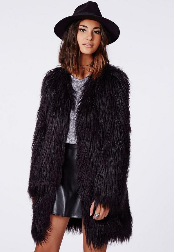 manteau en fausse fourrure poils longs cloe noir missguided. Black Bedroom Furniture Sets. Home Design Ideas