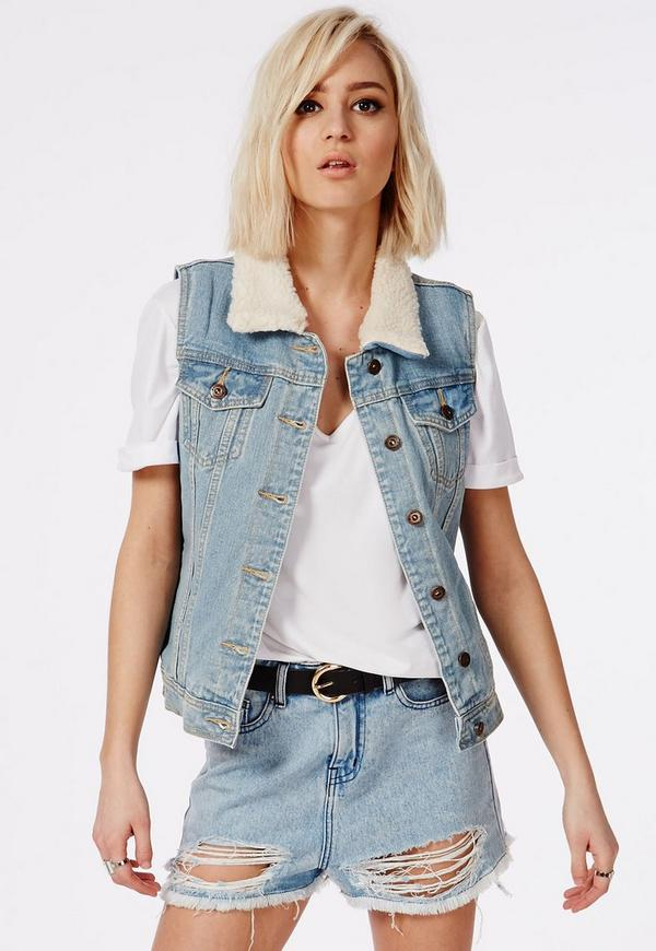 Cait Sleeveless Shearling Lined Denim Jacket Blue