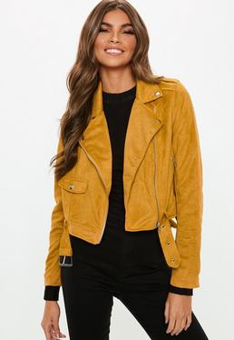 Faux Suede Belted Biker Jacket Mustard