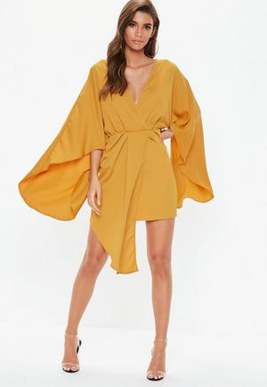 Peace + Love Orange Plunge Cape Mini Dress  c6bbe3e27