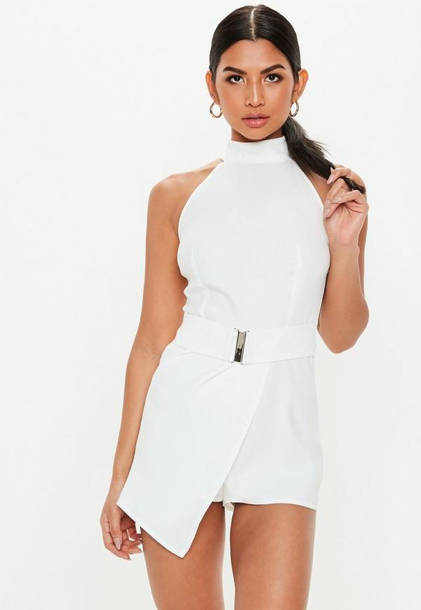 dd0b1b57d6c ... White Belted Tailored Drape Front Playsuit. Previous Next