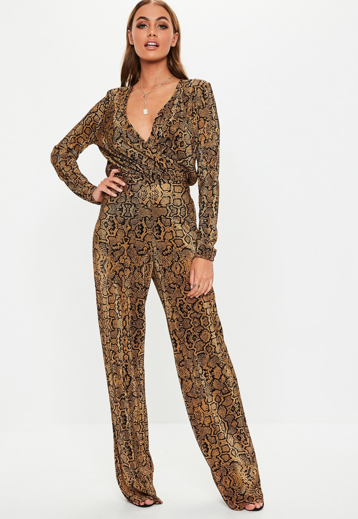 Missguided - pantalon large plissé marron imprimé serpent - 1