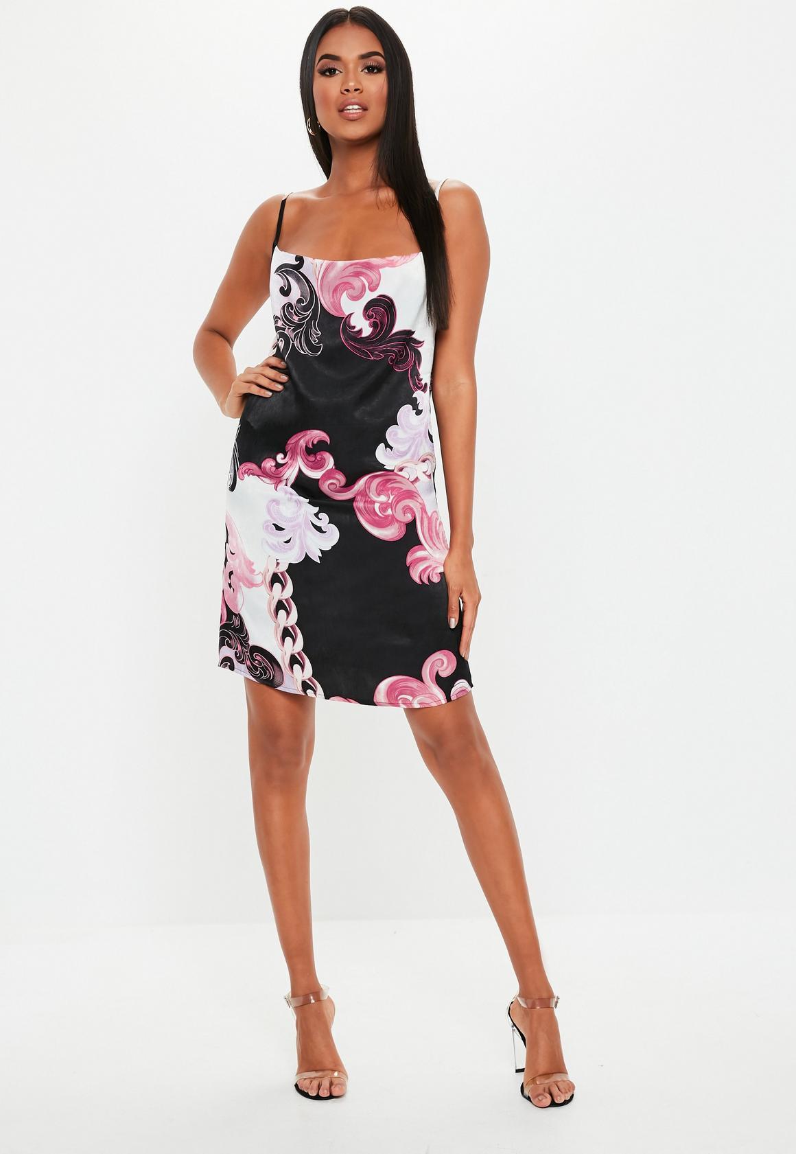Missguided - robe courte e en satin avec col bénitier et imprimé floral - 2