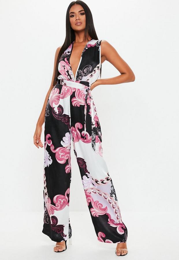Missguided - Floral Paisley Satin Plunge Jumpsuit - 1