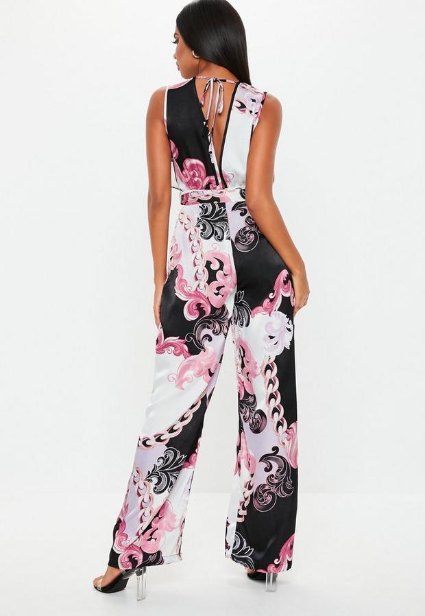 Missguided - Floral Paisley Satin Plunge Jumpsuit - 2
