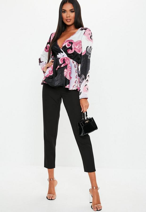 Missguided - Floral Paisley Satin Wrap Blouse - 1