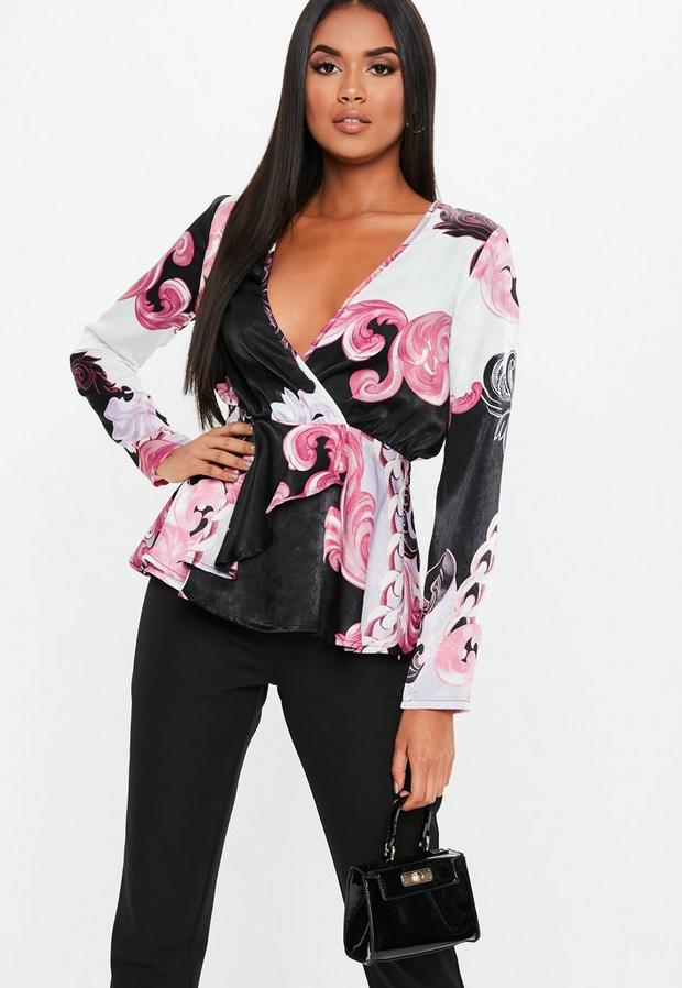 Missguided - Floral Paisley Satin Wrap Blouse - 2