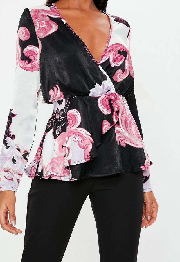 Missguided - Floral Paisley Satin Wrap Blouse - 3