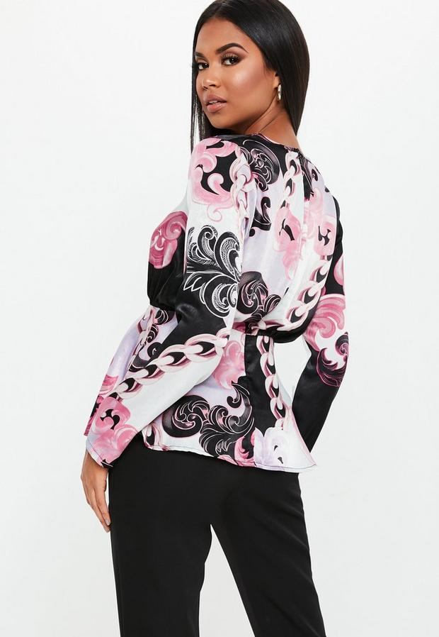 Missguided - Floral Paisley Satin Wrap Blouse - 4