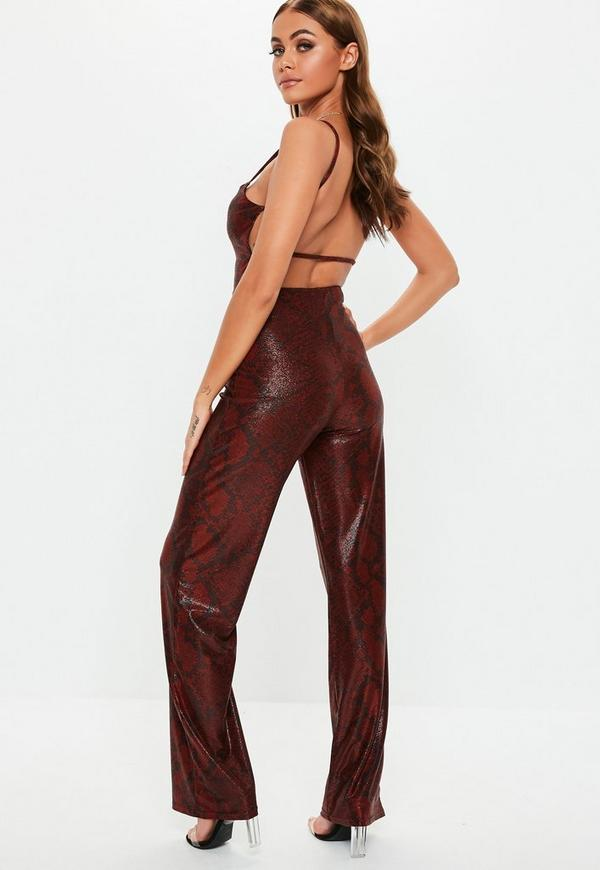 dd91c42493 ... Red Shimmer Snake Print Jumpsuit. Previous Next