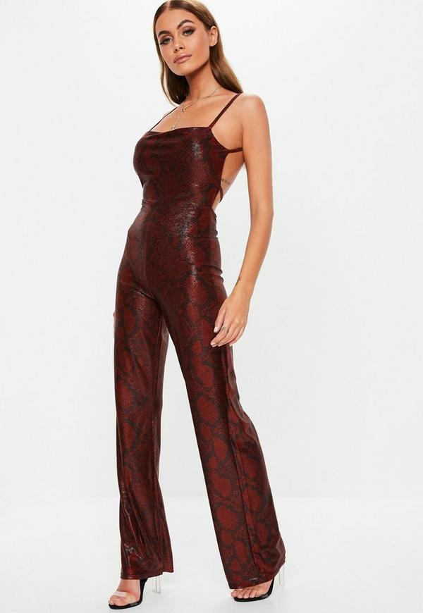 88e98142871 ... Red Shimmer Snake Print Jumpsuit. Previous Next