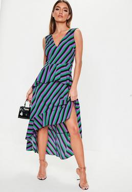 e1ba9ca44a69 Purple Stripe Frill Midi Tea Dress