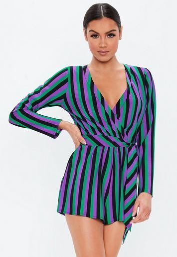 8e323ec7c0d8 Purple Stripe Tie Front Wrap Playsuit