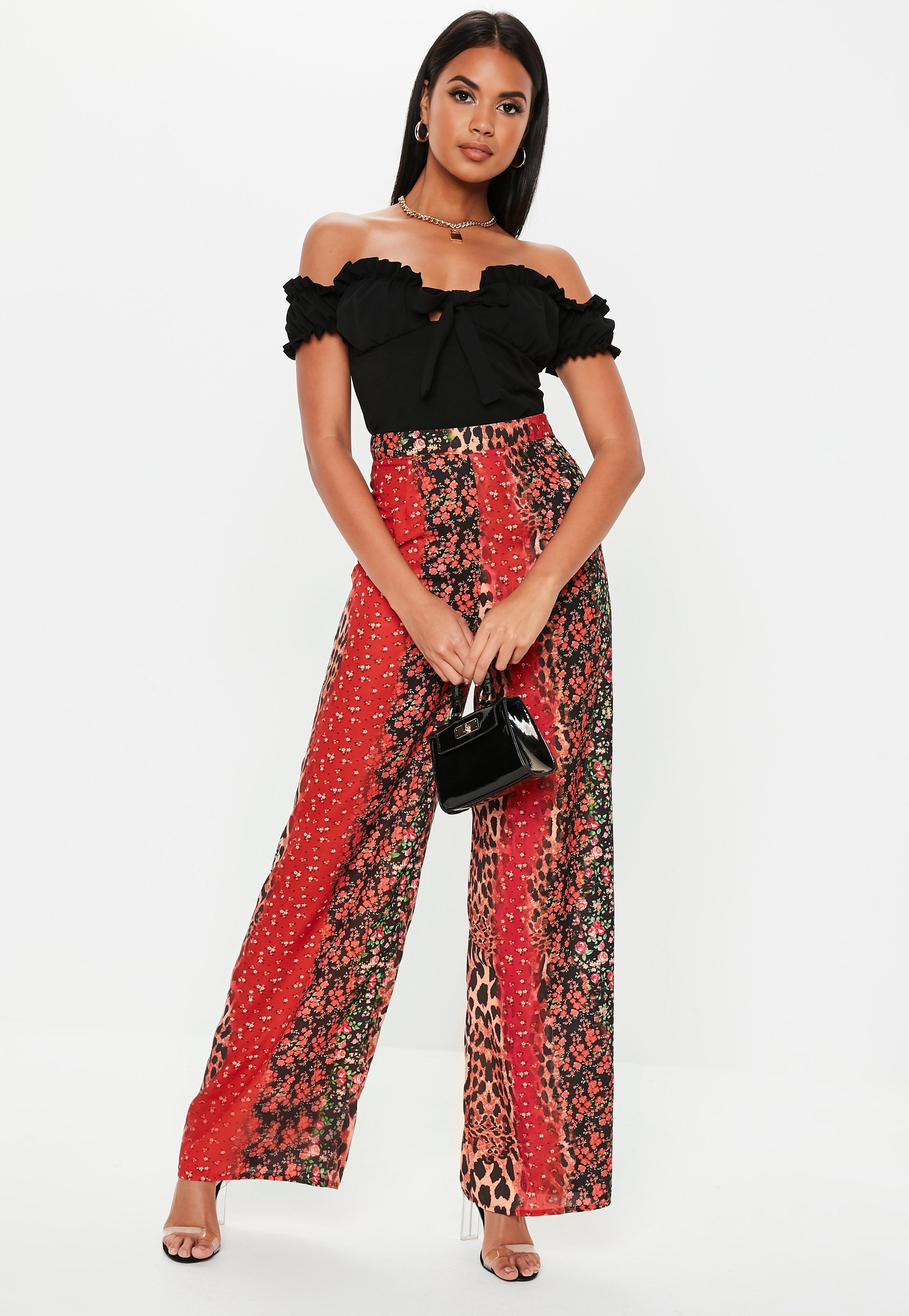 21ecc1760e Red Animal Floral Wide Leg Trousers   Missguided Australia