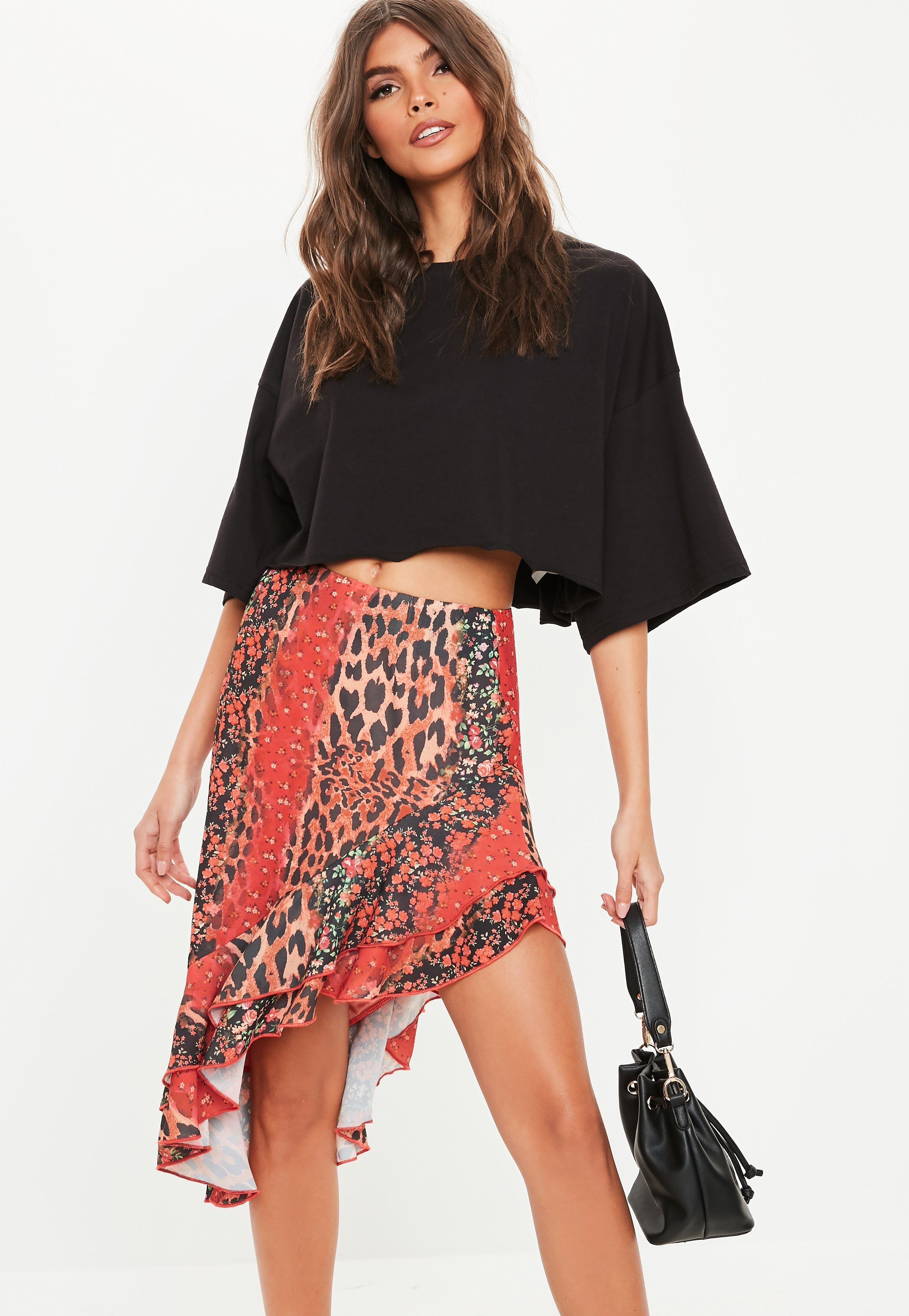 a3c9eeb35 Red Animal Floral Mix Frill Midi Skirt | Missguided