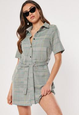 bebd5912995b5a Red Gingham Ruched Midi Dress · Grey Check Print Tie Waist Shirt Dress