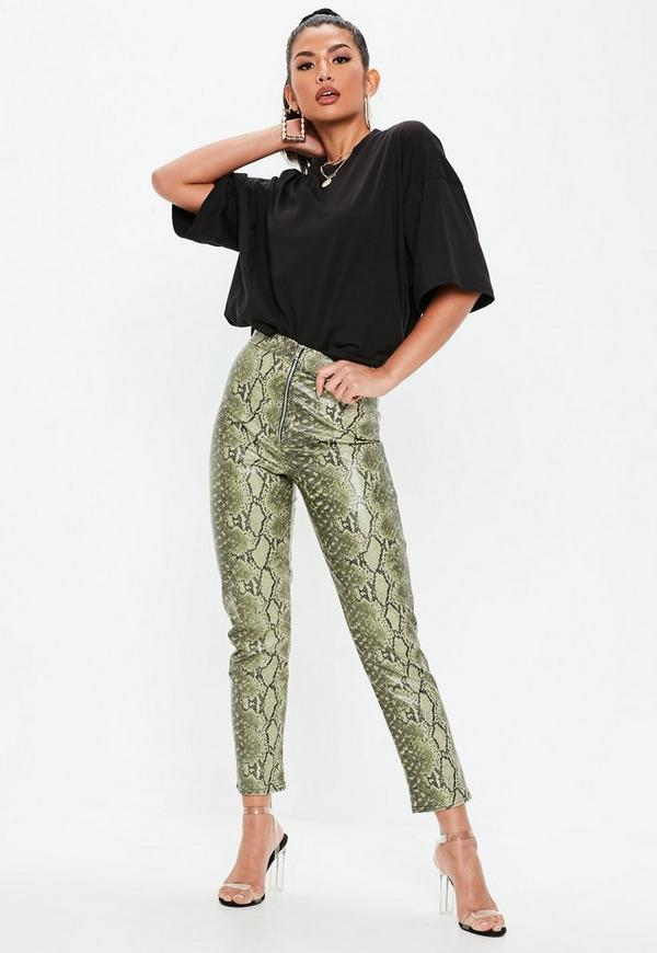 8c7fc60c3cb6d Lime Snake Print Faux Leather Skinny Trousers