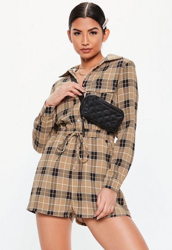 Camel Soft Plaid Elasticated Waist Shirt Romper by Missguided