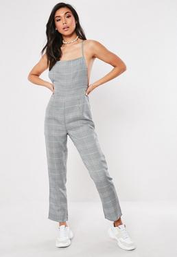 19e1a9e3d98 Grey Check Print Strappy Jumpsuit