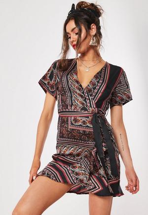 f76f4276c4f £28.00. black paisley print tea dress