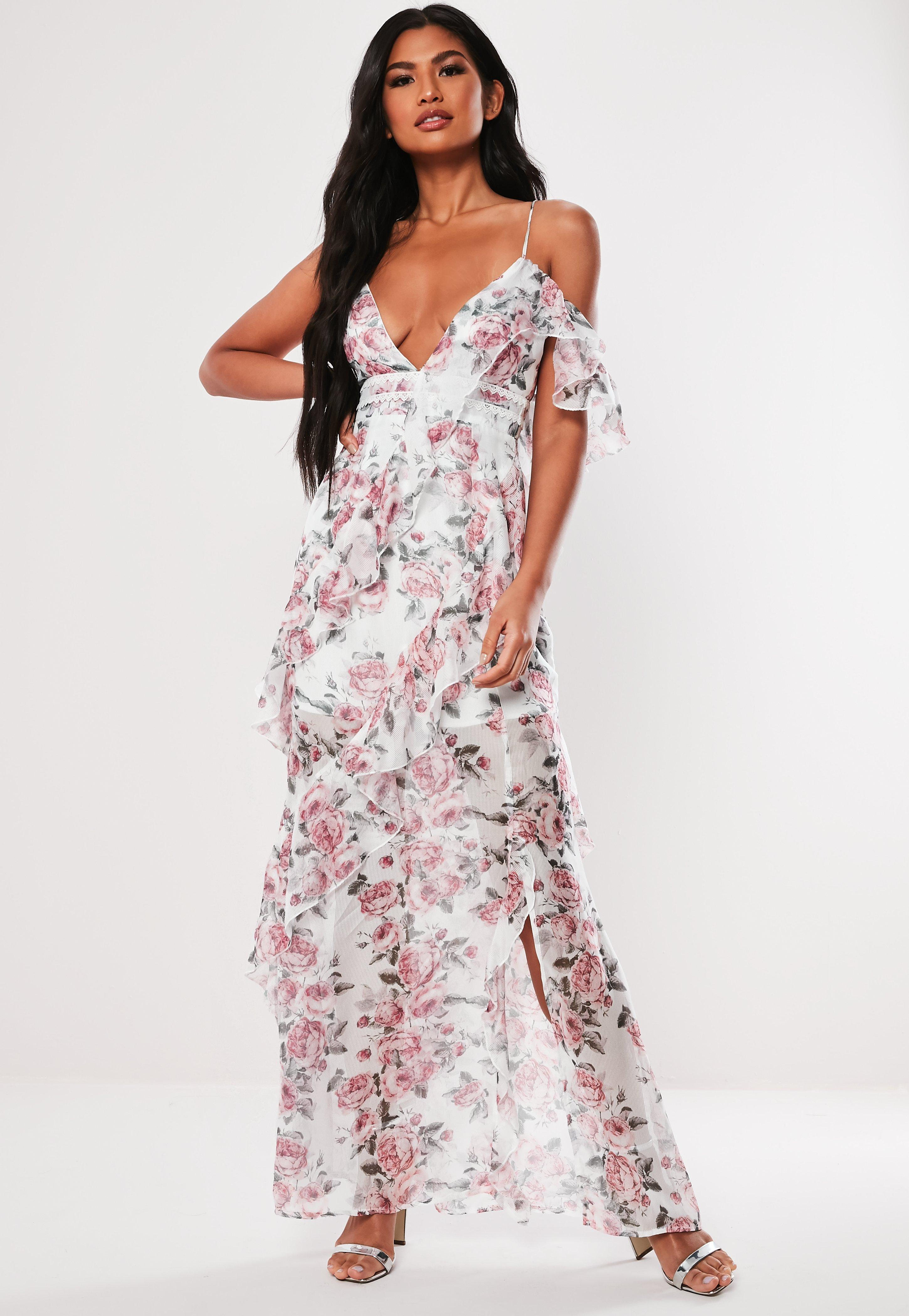 667a330672 Pink Floral Print Ruffle Maxi Dress | Missguided